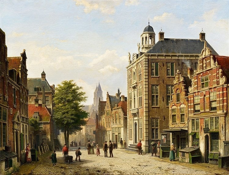 WILLEM KOEKKOEK (1839 Amsterdam 1895 Nieuwer-Amstel) – View of a Dutch Street in Summer, oil on canvas, 65 x 85 cm, signed Estimate: 70 000-80 000 EUR