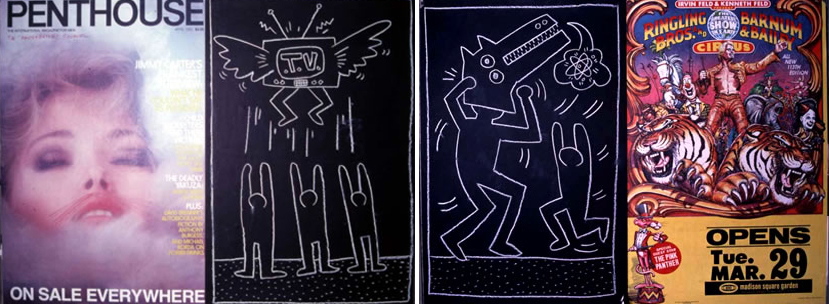 Deux dessins de 1982, collés à des publicités