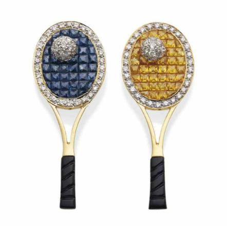 Paire de broches saphirs de couleur, saphirs, onyx et diamants Christie's France
