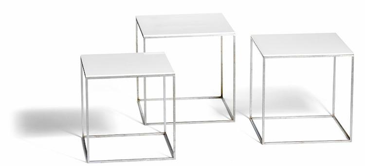 """Poul Kjærholms """"PK 71"""". Ett set med tre kubformade bord, utförda hos E. Kold Christensen"""