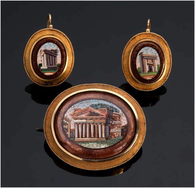 Demi parure (brooch and earrings) of yellow gold with micro-mosaics representing the Pantheon, the Arch of Septimius Severus and the Temple of Saturn, 2nd half of 19th century