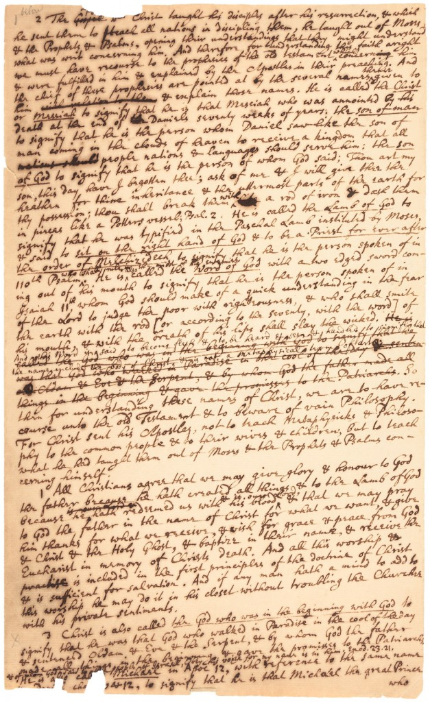 Photo caption: This thousand-word manuscript written by Sir Isaac Newton around 1690, in which he states his personal religious beliefs, will be sold at auction June 2nd. Image: PBA Galleries