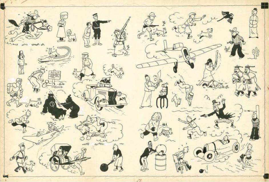 Hergé, Encre de Chine pour les pages de garde des albums des aventures de Tintin publiés de 1937 à 1958. Adjugé 2,654,400 €