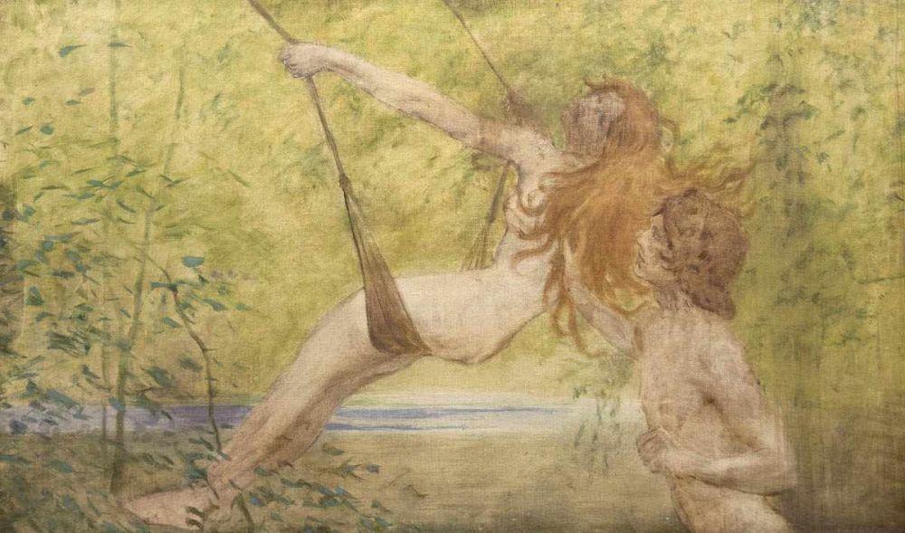 Fidus (1968 Lübeck-1948 Berlin), Die Kinder, Öl/Lwd., bezeichnet, um 1889