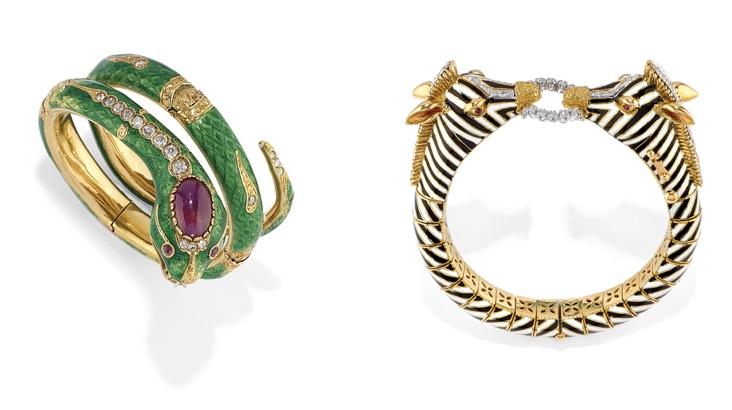 Links: Armreif aus Gold, Emaille, Diamanten und Rubinen Rechts: D'AMBROSIO - Armreif aus Gold, Emaille, Diamanten und Rubinen