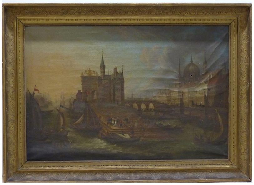 """Kapitale Bilderuhr """"Hafenansicht der Stadt Antwerpen mit reicher Personenstaffage und zahlreichen Schiffen"""", Öl/Lwd./Holz, 111x153 cm, um 1780 Taxpreis: 2.000 EUR"""