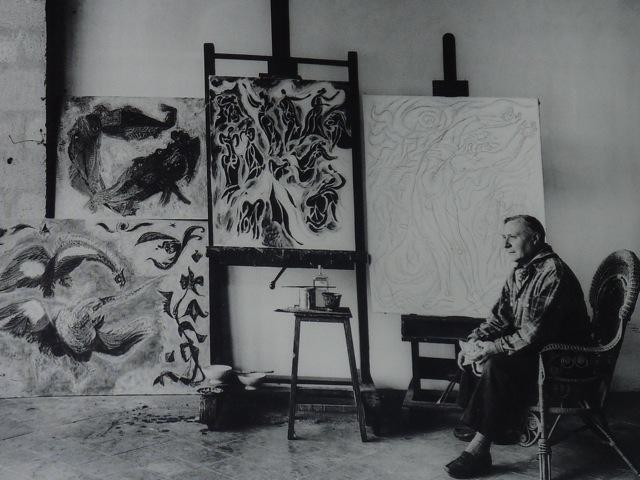 Portrait of Andé Masson in his studio