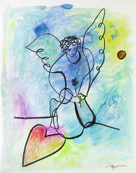 Avi Farin, Angel with Heart II, 2003, aquarelle RoGallery