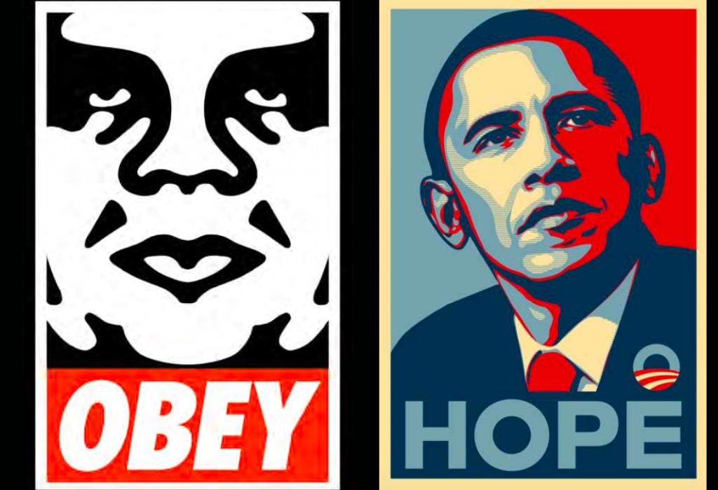 Två av Faireys mest populära verk, OBEY och HOPE.