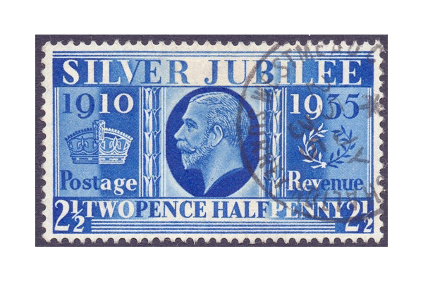 1935 Silver Jubilee 2 1/2d Prussian Blue Stamps, Great Britain. Photo: Martello Philatelic Auctions