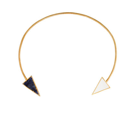 14ct yellow gold arrow collar necklace featuring prong set triangular slice kyanite and single cut diamonds.