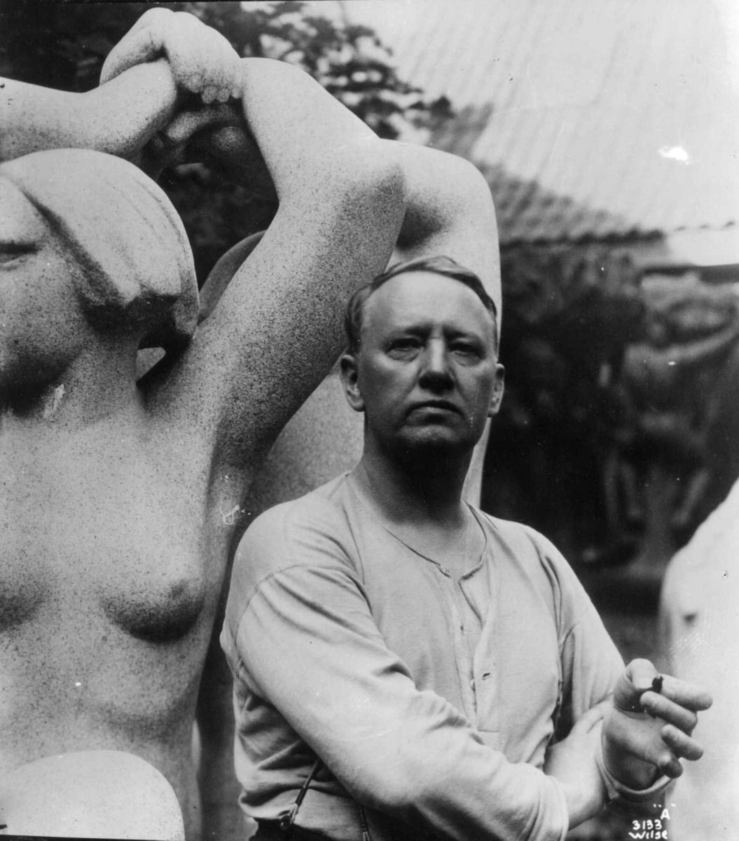 Gustav Vigeland. Foto via DigitaltMuseum.
