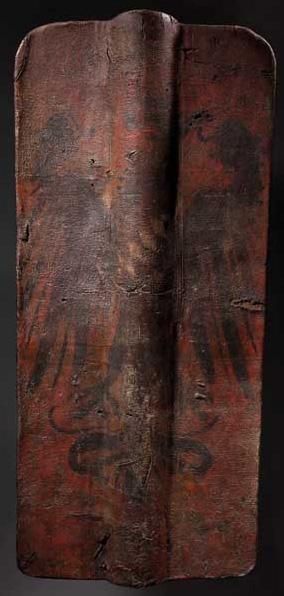 Läderklädd sköld från den kejserliga staden Schongau i Bayern. Tillverkad i slutet av 1500-talet Utropspris: 116 000 SEK Hermann Historica