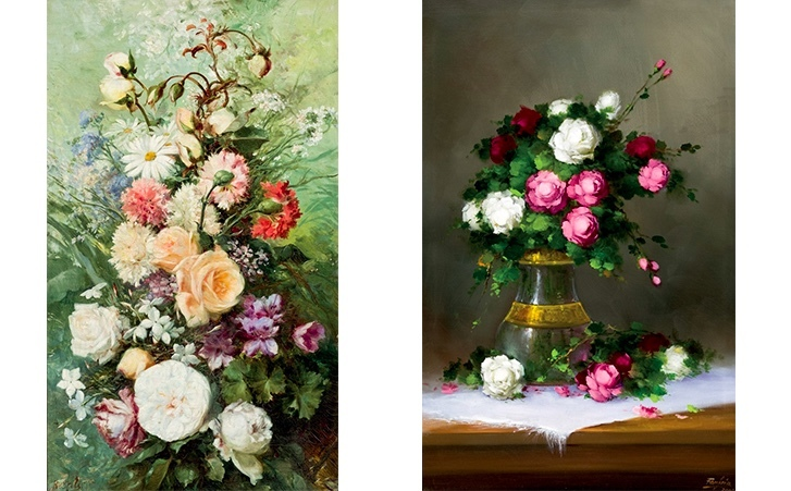 Left: RAMÓN STOLZ SEGUÍ (1872-1924) - Flower Vase. Right: JOSE MANUEL FONFRIA - Flower Vase.