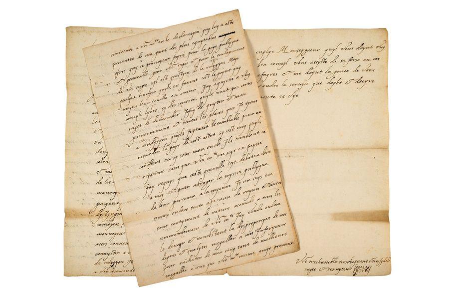 Brief aus dem Jahr 1585 des späteren Heinrich IV. von Frankreich an seinen Schwager, den französischen König Heinrich III. | Foto via Aguttes