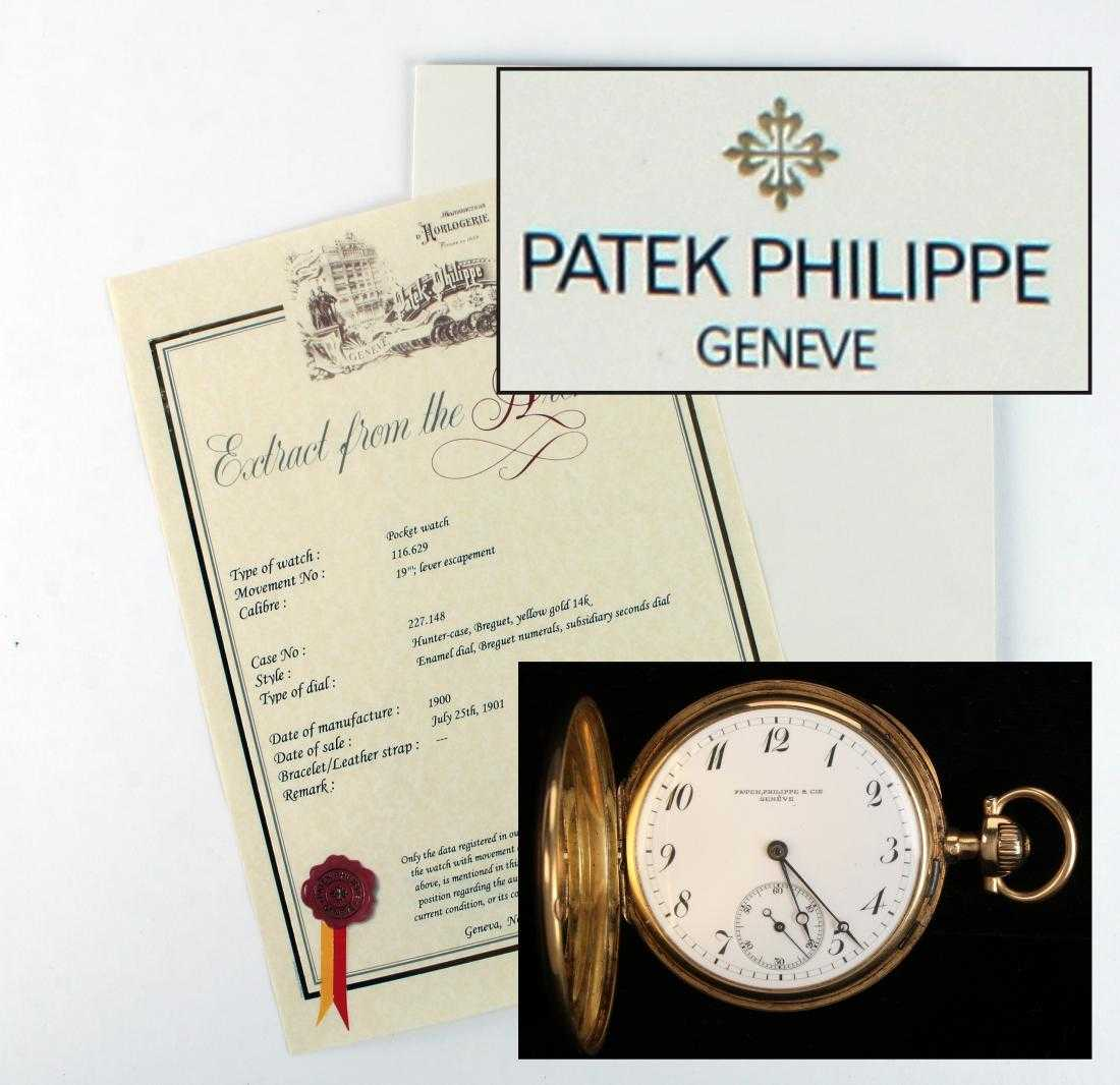 "Patek Philippe 14kt gold pocket watch from 1900, enameled with the royal crown of Hungary and inscribed in French, ""Cie, Geneve"" on the back (esr. $15,000-$25,000)."