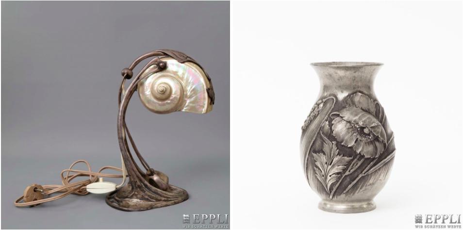 Links: MORITZ HACKER - Nautiluslampe aus versilbertem Metall, Wien um 1905 | Rechts: CORTESI - Zinnvase mit Mohnblumen- und Ähren-Relief, um 1900