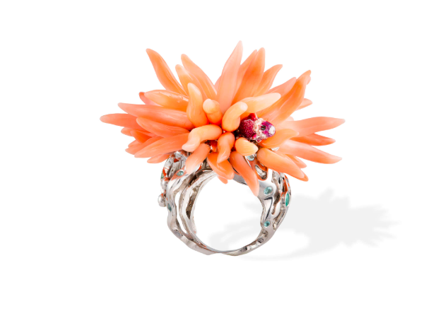 Coral and Gem-set Cocktail Ring by Dior. Photo: Adam's