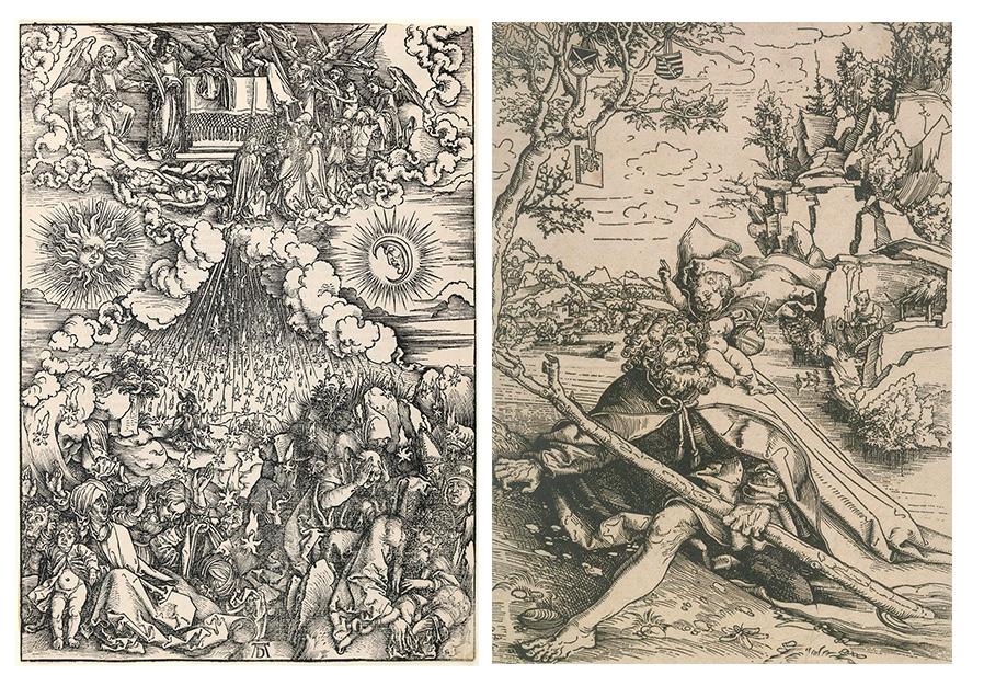 """Links: Albrecht Dürer (1471 Nürnberg 1528). Die Eröffnung des fünften und sechsten Siegels. IV. Figur der """"Apokalypse"""", 1498 Rechts: Lucas Cranach d. Ä. (1472 Kronach - 1553 Weimar), Der heilige Christophorus, um 1506"""