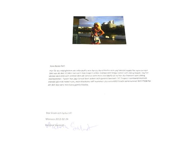Victoria-Silvstedt-brev_Kaplans-Auktioner_Rolex-klockauktion