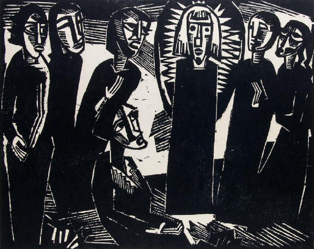 KARL SCHMIDT-ROTTLUFF (1884 Rottluff - 1976 Berlin) - Christus unter den Frauen, Holzschnitt/festes chamoisfarbener Japan, 1919