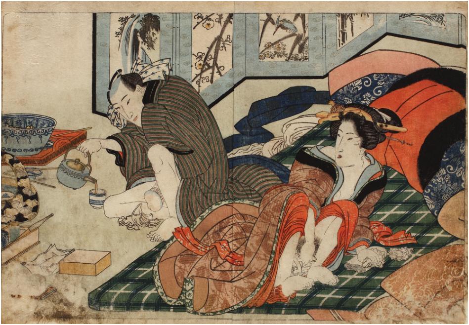 Kunisada - Shunga ögonblicket. Shiki Nu Nagame-serien (Spring Pictures), 25,5 x 35 cm, Nishiki-e-teknik, 1827. Utropspris: 6,500 SEK. Artmark.