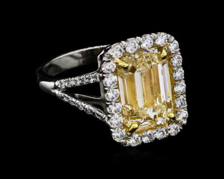Bague diamant jaune et diamants