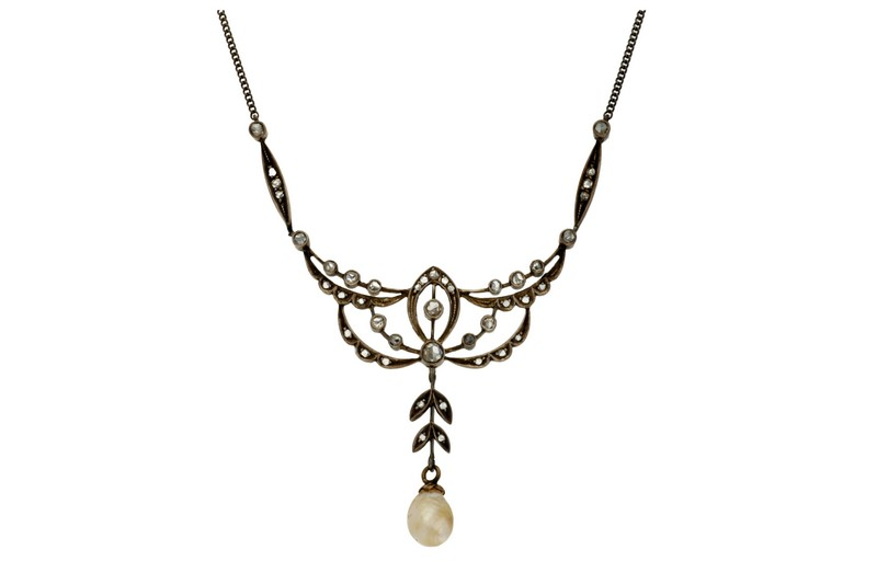 Gargantilla Belle Époque en oro y diamantes (hacia 1910)