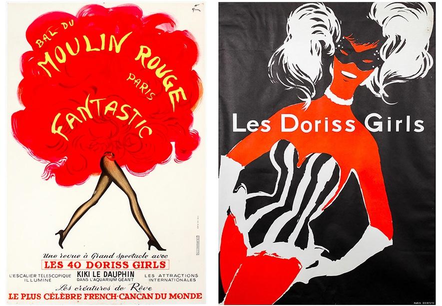 "Links: Werbetafel zur Show ""Bal du Moulin Rouge - Fantastic"", Paris 1970, Entwurf RENÉ GRUAU Rechts: ANDRÉ GRUAU (1909-2004) attr. - Das 1. Werbeplakat für ""Les Doriss Girls"", Ende 1950er Jahre"