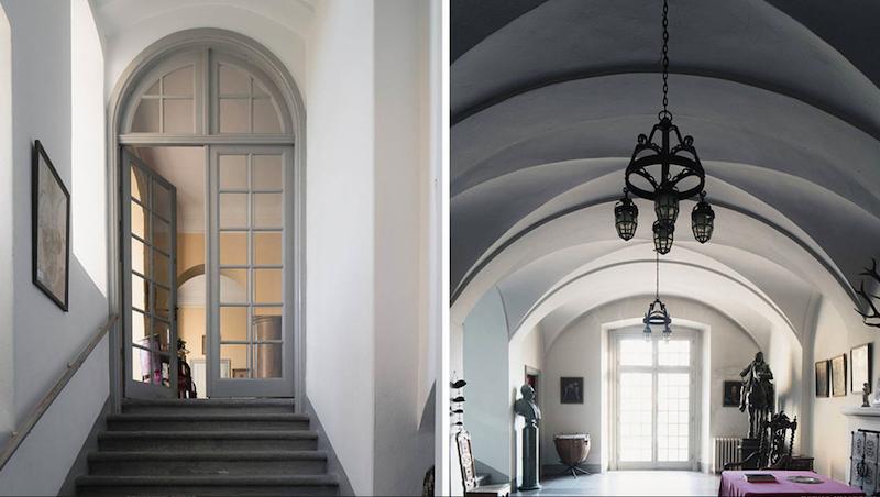 Interiörbild från det vackra trapphuset på Lennartsnäs Slott. Foto: Wrede Mäkleri