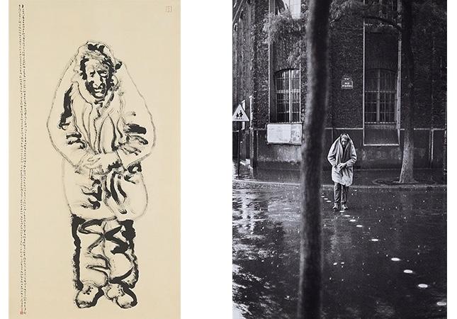 TAN SWIE HIAN (CHEN RUIXIAN, *1943) - Portrait von Alberto Giacometti, basierend auf einem Foto von Cartier-Bresson, Hängerolle, Tusche/Papier, signiert und datiert, 1987 Rechts: Henri Cartier-Bresson, Alberto Giacometti, Paris, 1961. Versteigert bei Lempertz 2016   Abb.: Lempertz