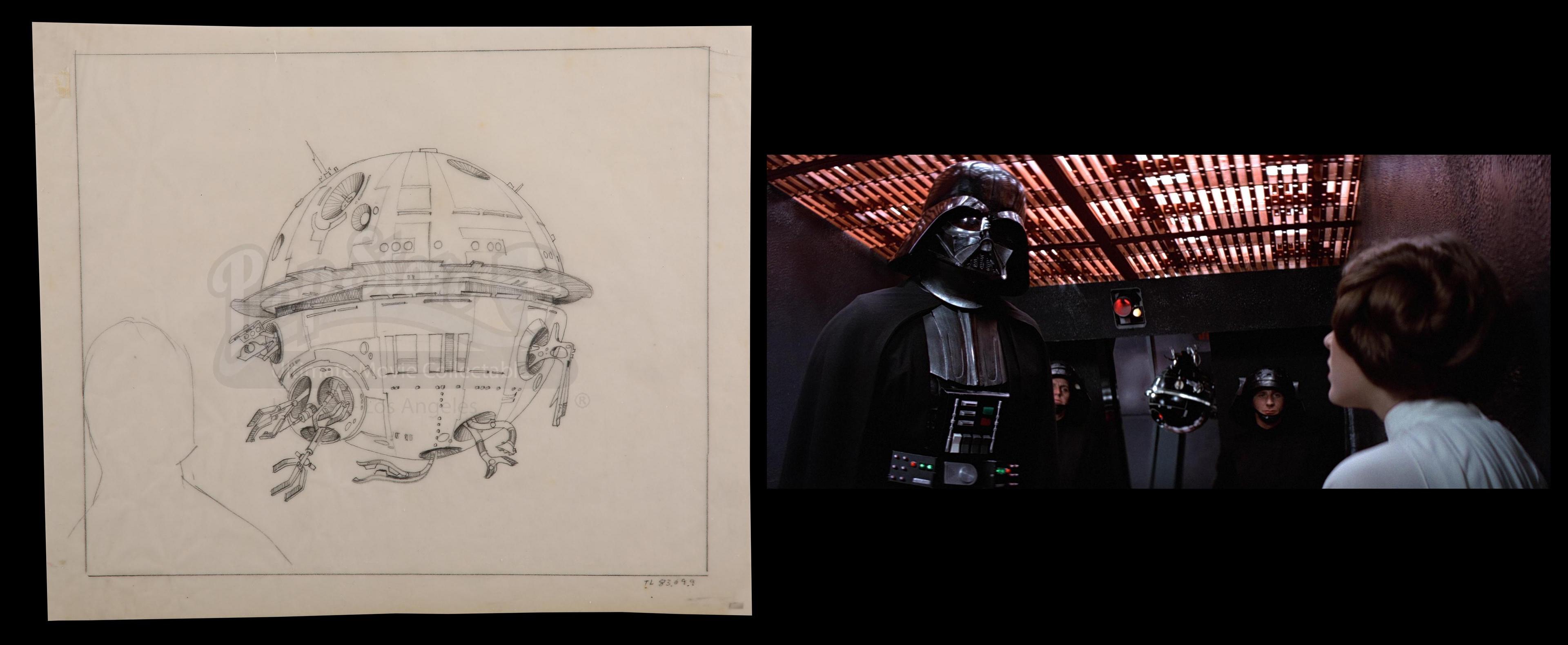 Hand-drawn Interrogation Droid. Photo: Prop Store