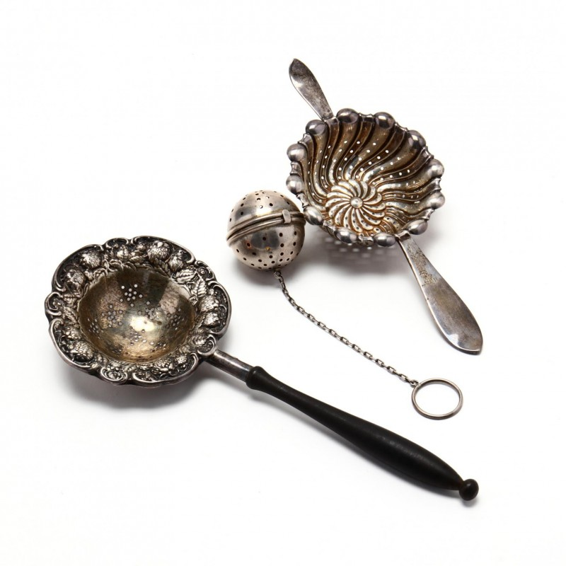 Three Sterling Silver Tea Strainers. Photo: Leland Little.