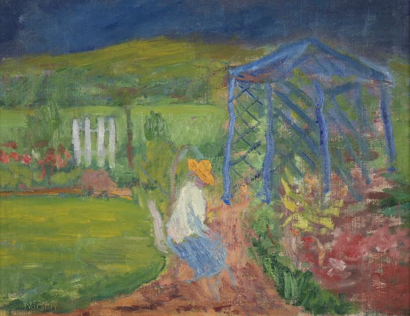 """Ivan Ivarson tillhör en av de pionjära göteborgskoloristerna som förändrade den svenska konsthistorien. Hos Åmells Konsthandel visas och säljs """"Trädgårdspaviljongen"""" från 1934"""