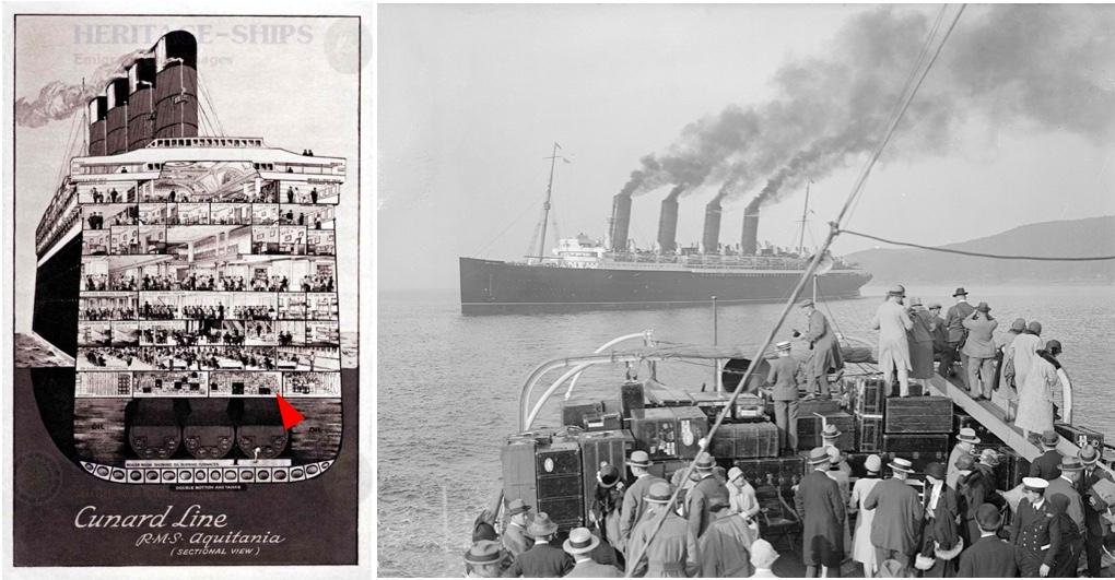 Links: Querschnitt durch die Decks der RMS Aquitania mit den Gepäckräumen über den Motoren, Abb. via norwayheritage.com (Roter Pfeil ergänzt) | Rechts: Passagiere der Mauretania und ihr Gepäck, England 1925, Foto Hulton Archive, Getty Images via americanhistory.si.edu