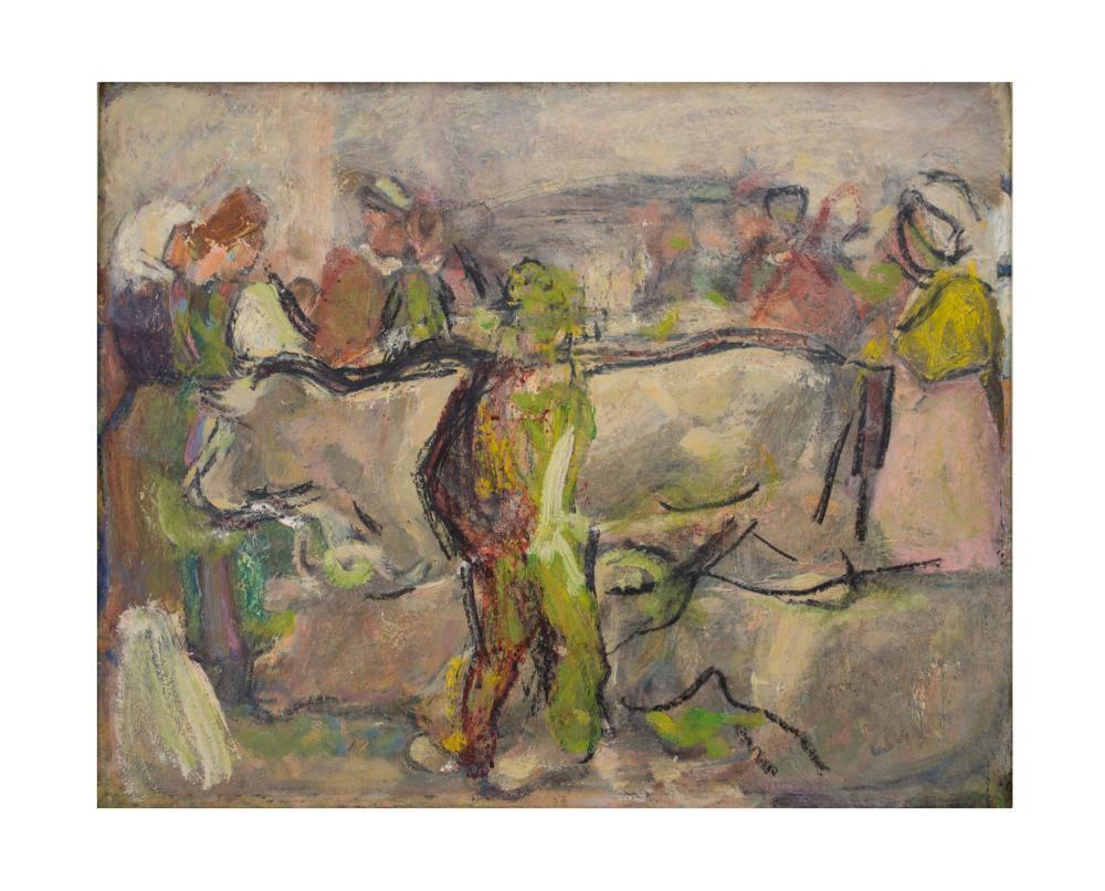 HANS JOSEF WEBER-TYROL (1874 Schwaz - 1957 Meran) - Marktszene, Öl/Lwd., signiert