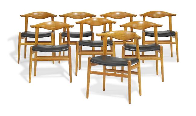 """Hans J. Wegner six """"Cowhorn Chairs"""""""