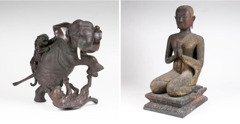 Links: SEIYA GENRYUSAI (tätig Ende 19. Jh.) - Elefant, von Tigern angegriffen, Bronze, Japan, Meiji-Zeit (1868-1912) Rechts: Skulptur eines knienden Buddha-Jüngers, Bronze, Siam/Laos Ende 18. Jh.