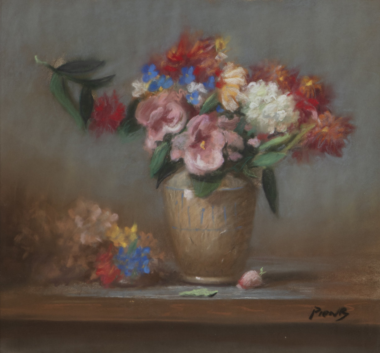 Pastel on paper by Richard Pionk (American, 1936-2007), titled Still life with flowers in a vase, circa 1905, signed 'Pionk' lower right (est. $150-$250).