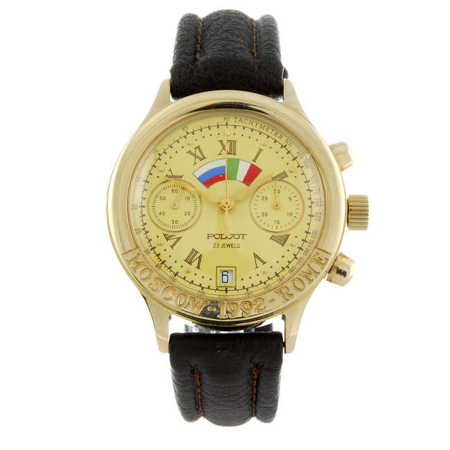 Montre-bracelet pour homme en plaqué or par Poljot Estimation basse: 110 €