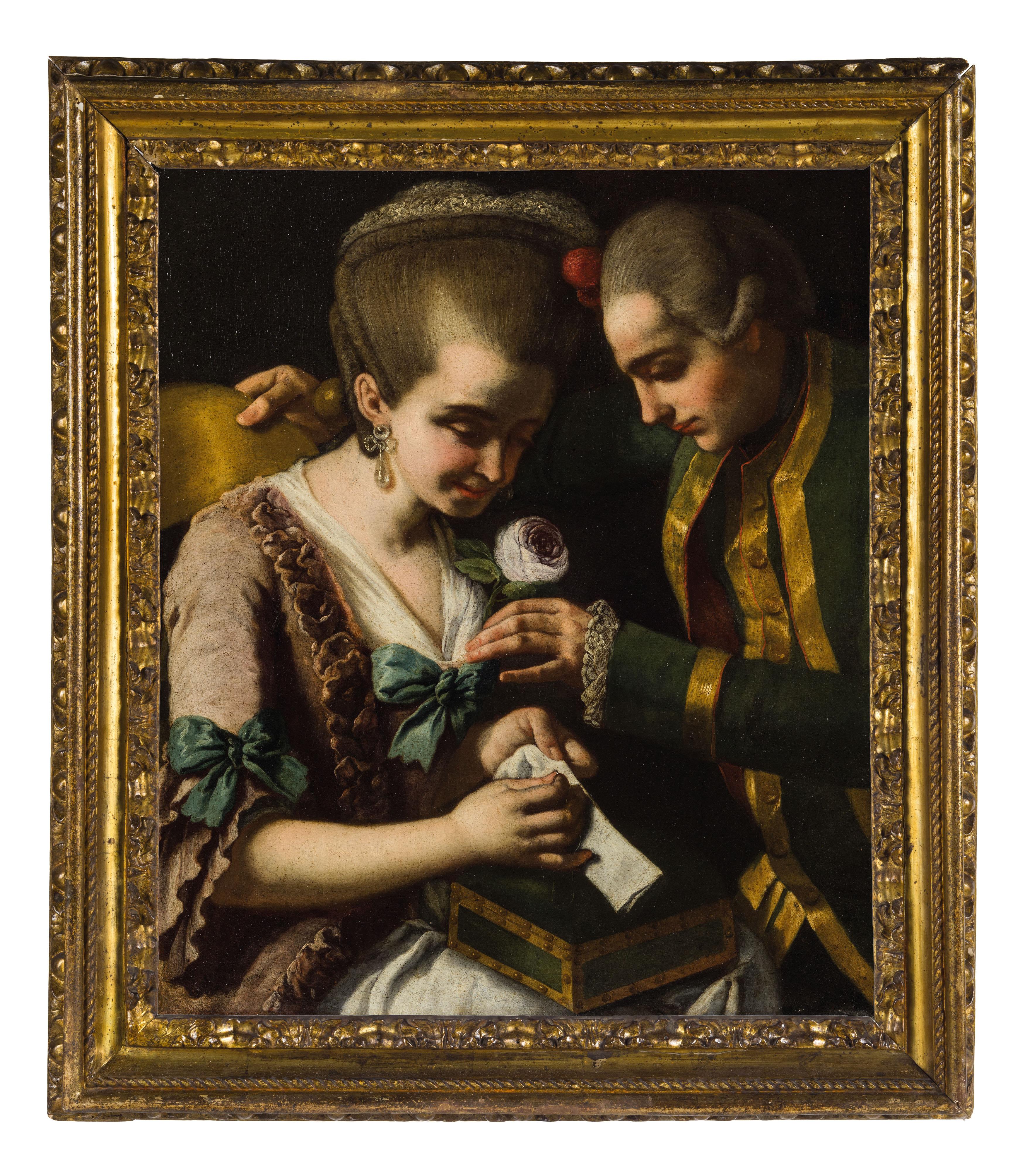 Neapolitanischer Maler - Galante Szene, Öl/Lwd.