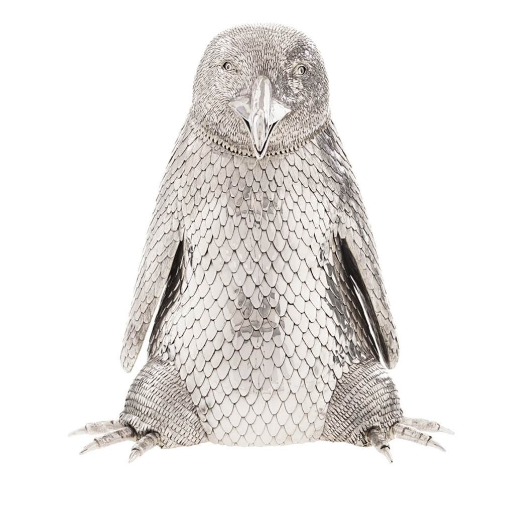 Fratelli Lisi - champagne bottle holder in the form of a penguin, sterling silver