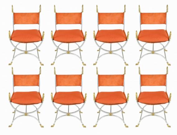 MAISON JANSEN, 8 fauteuils, 1970 Maison Rapin