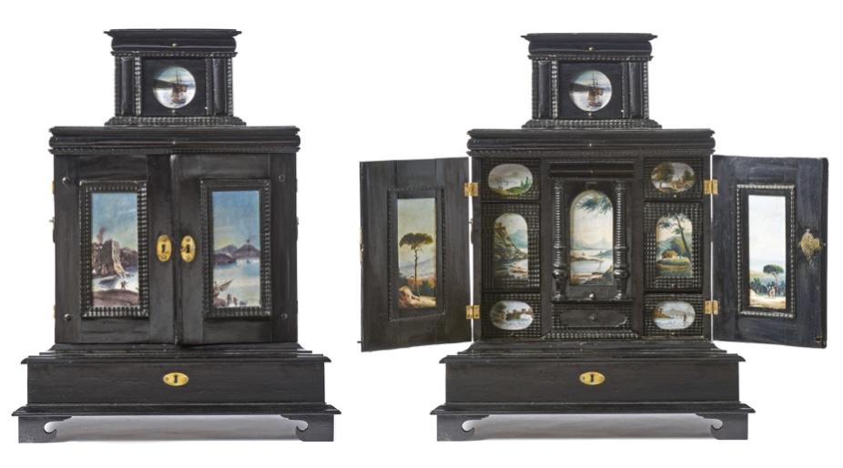 Kleines Barock-Kabinett aus bonitiertem Holz mit Landschaftsminiaturen des 19. Jhs., Süddeutschland frühes 18. Jh. Schätzpreis: 2.000 EUR