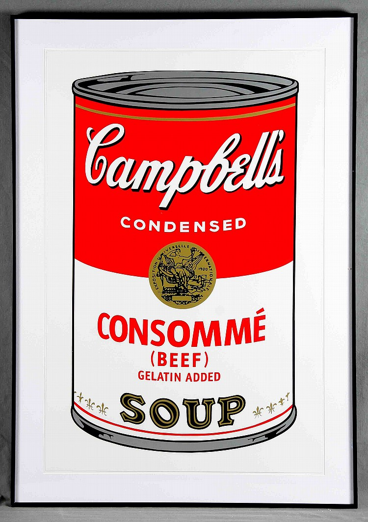 """ANDY WARHOL. """"Campbell's Soup Can 11.52. Consomme Beef"""". Litografía (1988)"""