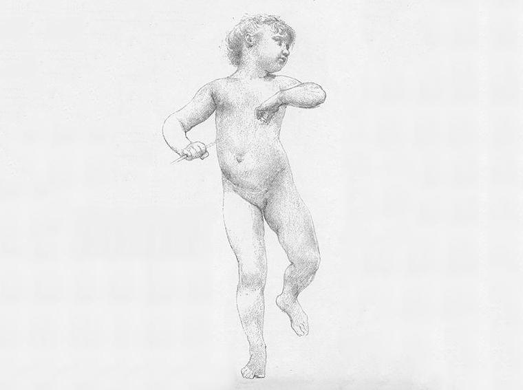 Étude de chérubin pour La jeunesse de Bacchus, par William Bouguereau, image via Inspiration Artworks