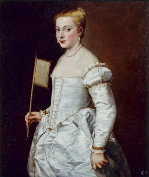 Titiaan (Tiziano Vecellio), Portrait einer Dame in weiß, Öl auf Leinwand, 102 x 86 cm, Dresdener Gemäldegalerie Alte Meister
