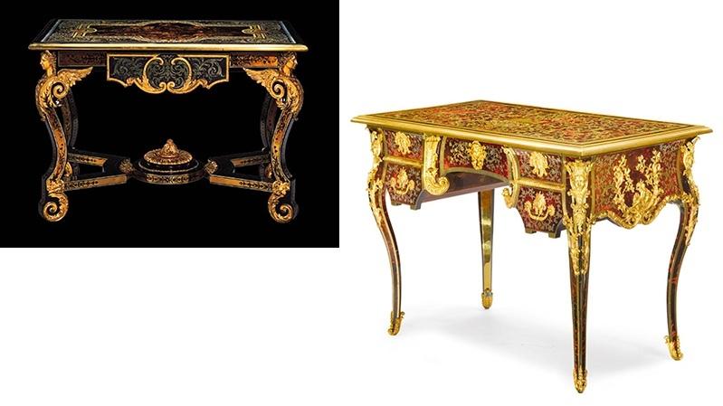Gauche : AC Boulle, table, vers 1685, image ©Christie's / Droite : B. I van Risenburgh (attribué), bureau, vers 1710-1715, image ©Sotheby's