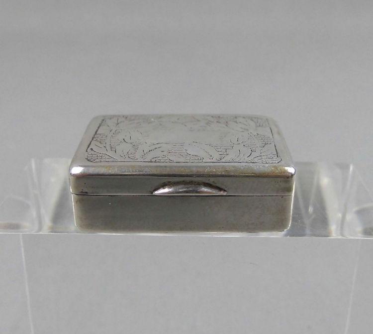 Silver pill box. Estimate $50