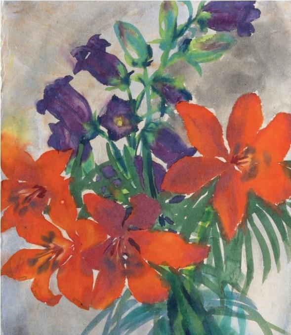 EMIL NOLDE (1867 Nolde - 1956 Seebüll) - Feuerlilien und Glockenblumen, Aquarell/Japanpapier, signiert